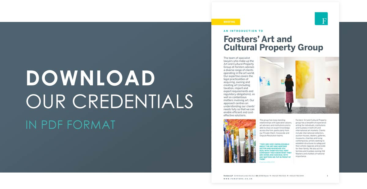 Click here to download our Art and Heritage Property Group credentials in PDF format