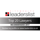 Citywealth Leaders List - Top 20 Lawyers 2018