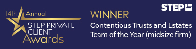 Forsters win the 2019 STEP Private Client Award for Contentious Trusts and Estates Team of the Year (Midsize firm)