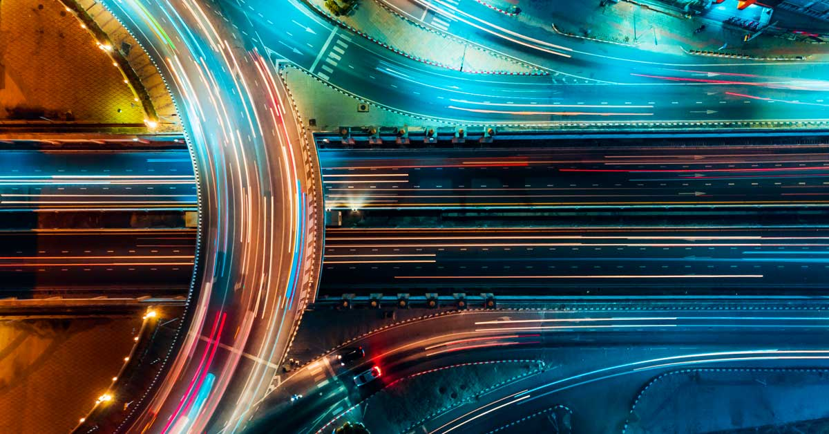 A busy international motorway scene from above